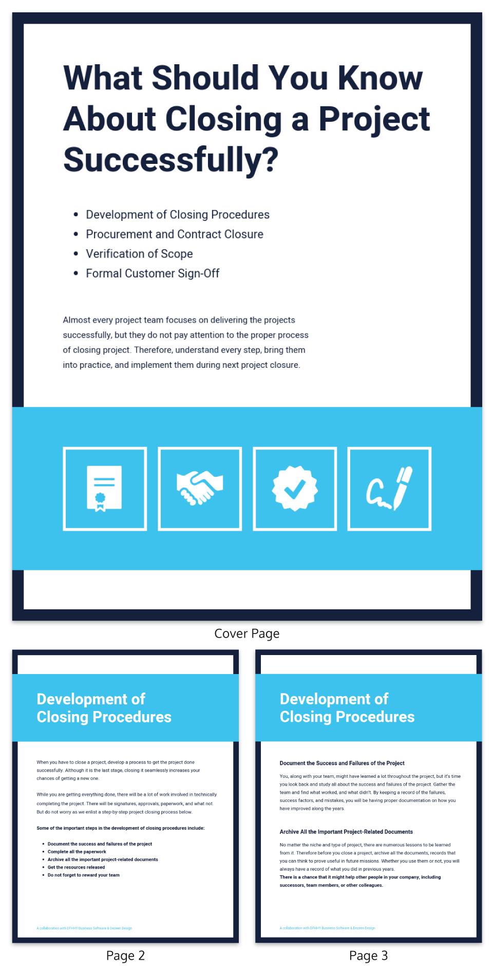 Training materials simple blue management ebook template
