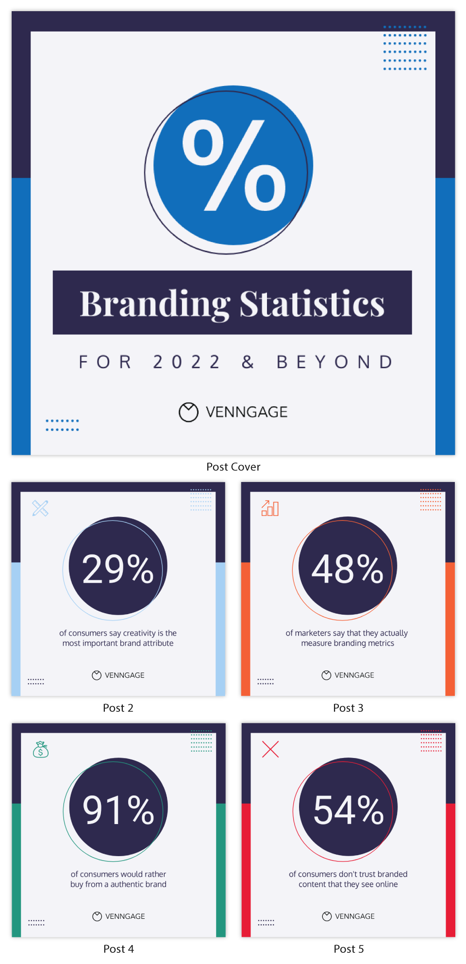 By the numbers infographic branding statistics carousel