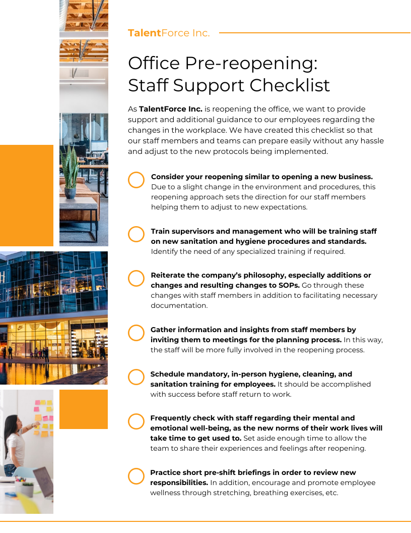 Checklist Infographic Template Business Reopening Staff Support