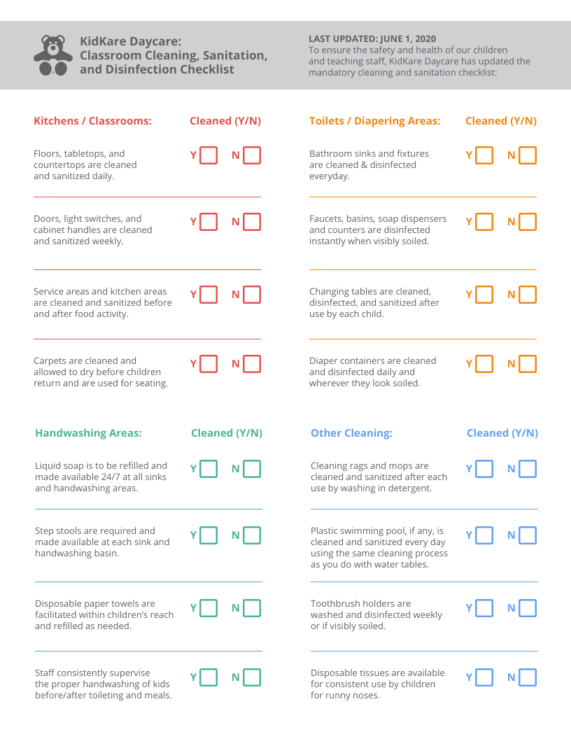 Checklist Infographic Template Classroom Health & Safety