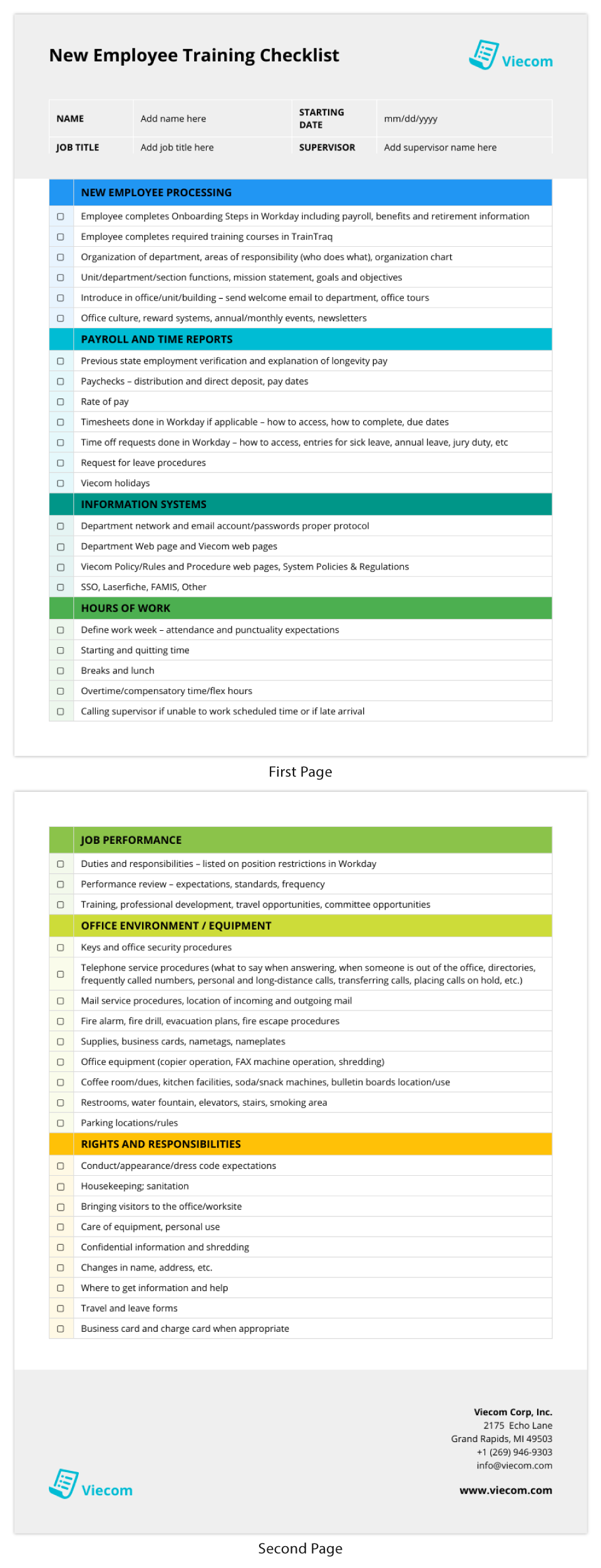 Checklist Infographic Template New Hire Onboarding 2 Pages