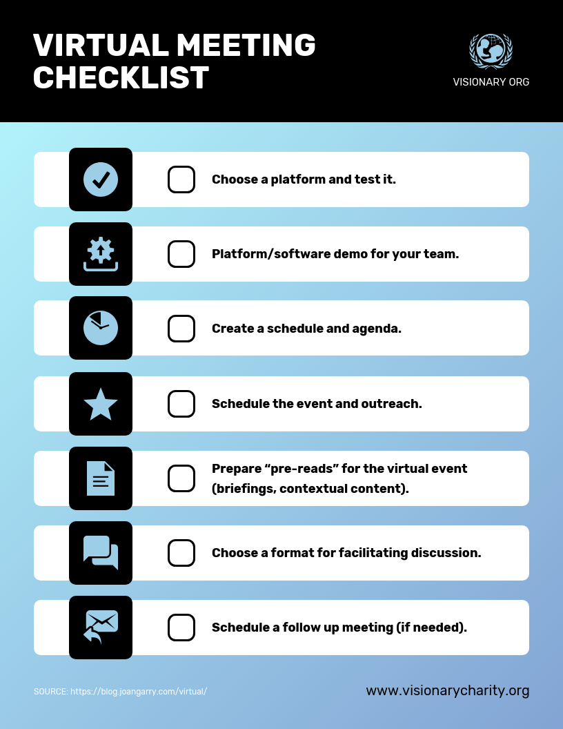 Checklist Infographic Template Nonprofit Virtual Meeting