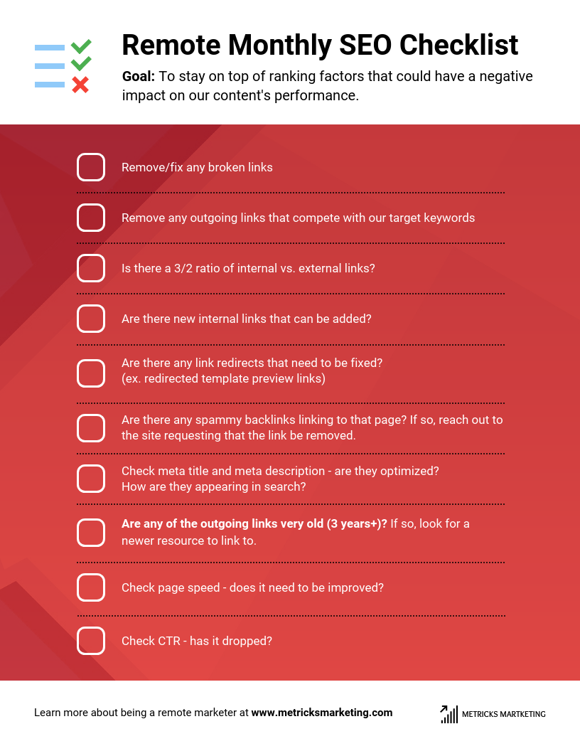 Checklist Infographic Template Remote Monthly SEO