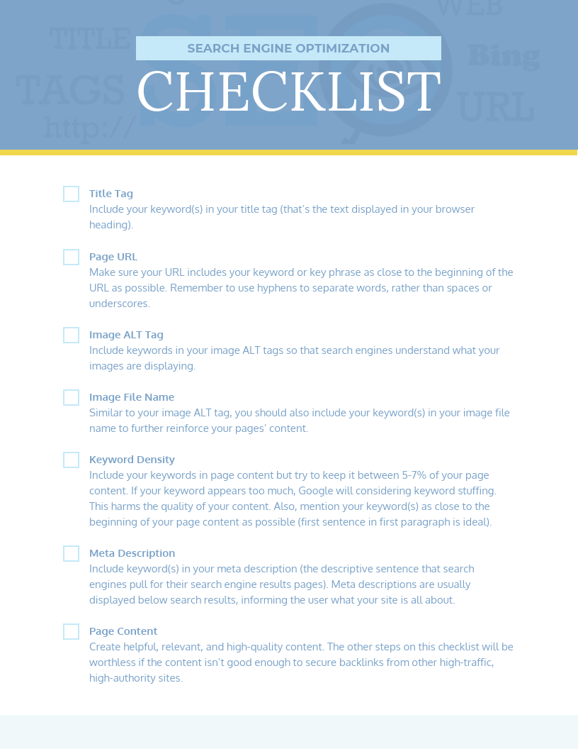 Checklist Infographic Template Simple SEO Checklist