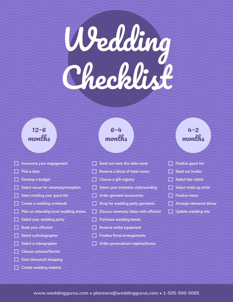 Checklist Infographic Template Wedding Purple
