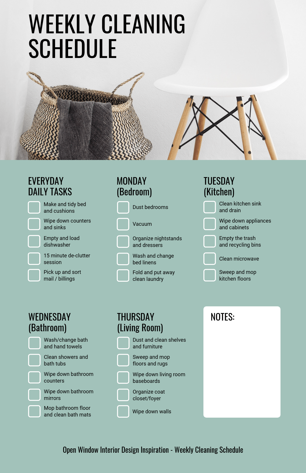 Checklist Infographic Template Weekly Cleaning Schedule