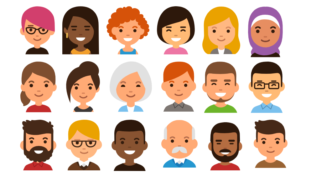 People Infographic Diverse Icons Faces Flat