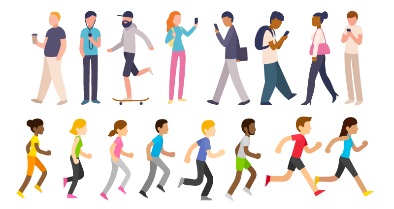 People Infographic Diverse Icons Illustrated and Actions