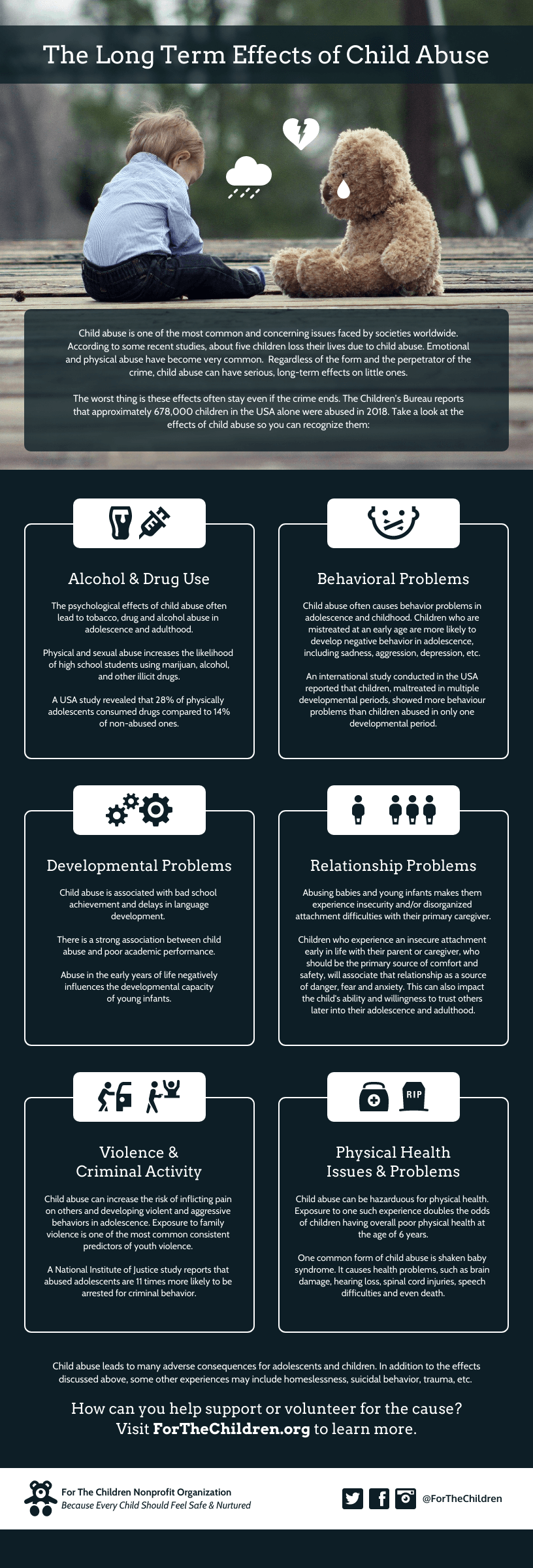 Effects of Child Abuse Nonprofit Simple Infographic Template