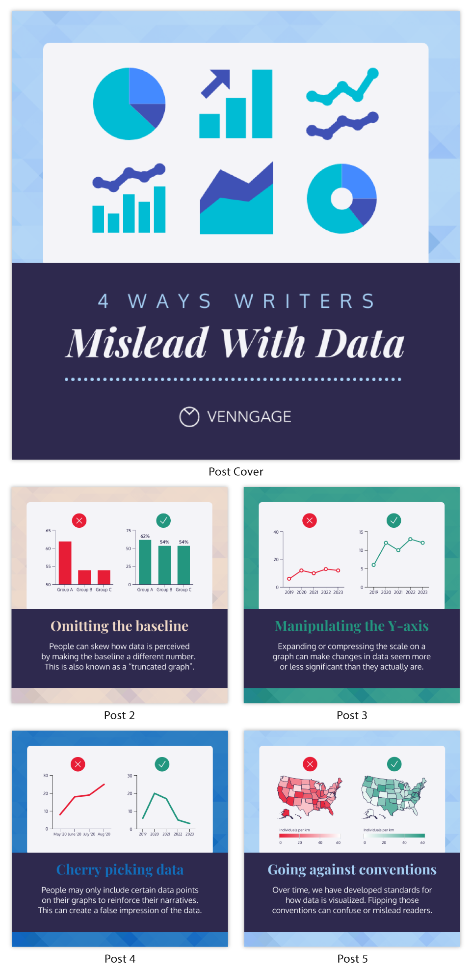 Infographic Fonts misleading data instagram carousel post template