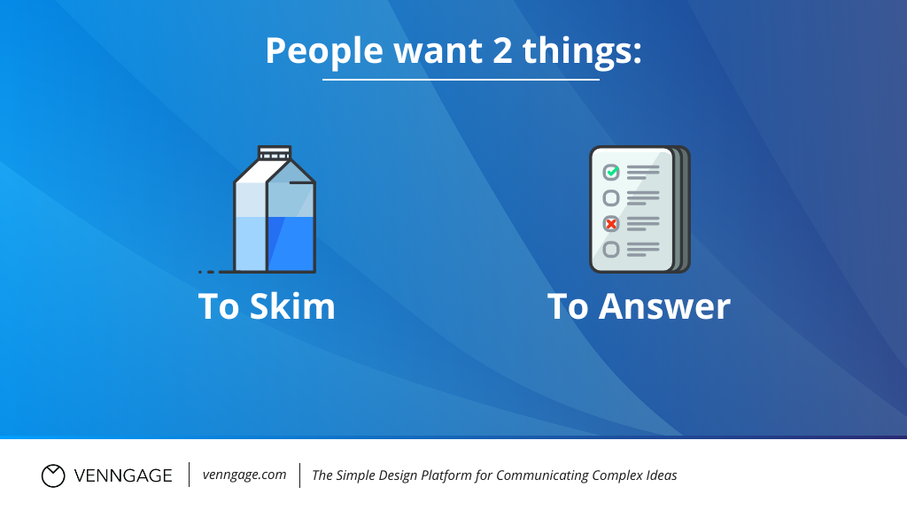Infographic SEO people only want to skim and to answer