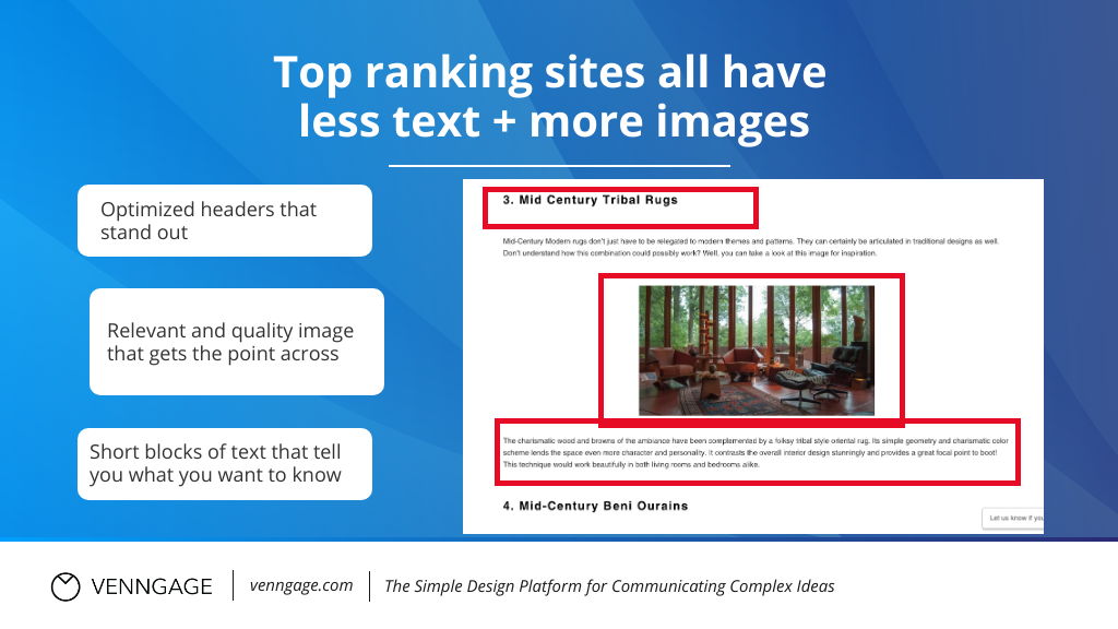 Infographic SEO top ranking sites have less text more images.