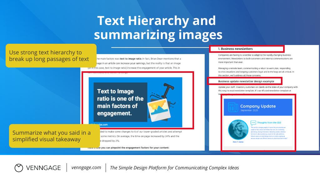 Infographic SEO infographics text hierarchy and summarizing images