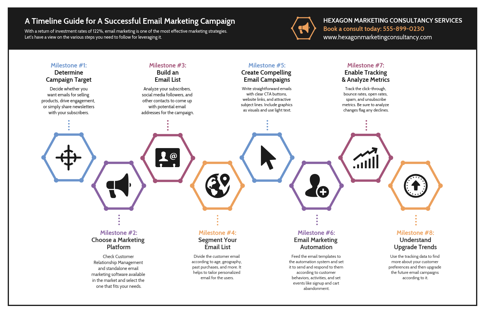 Infographic layout marketing campaign consultant timeline