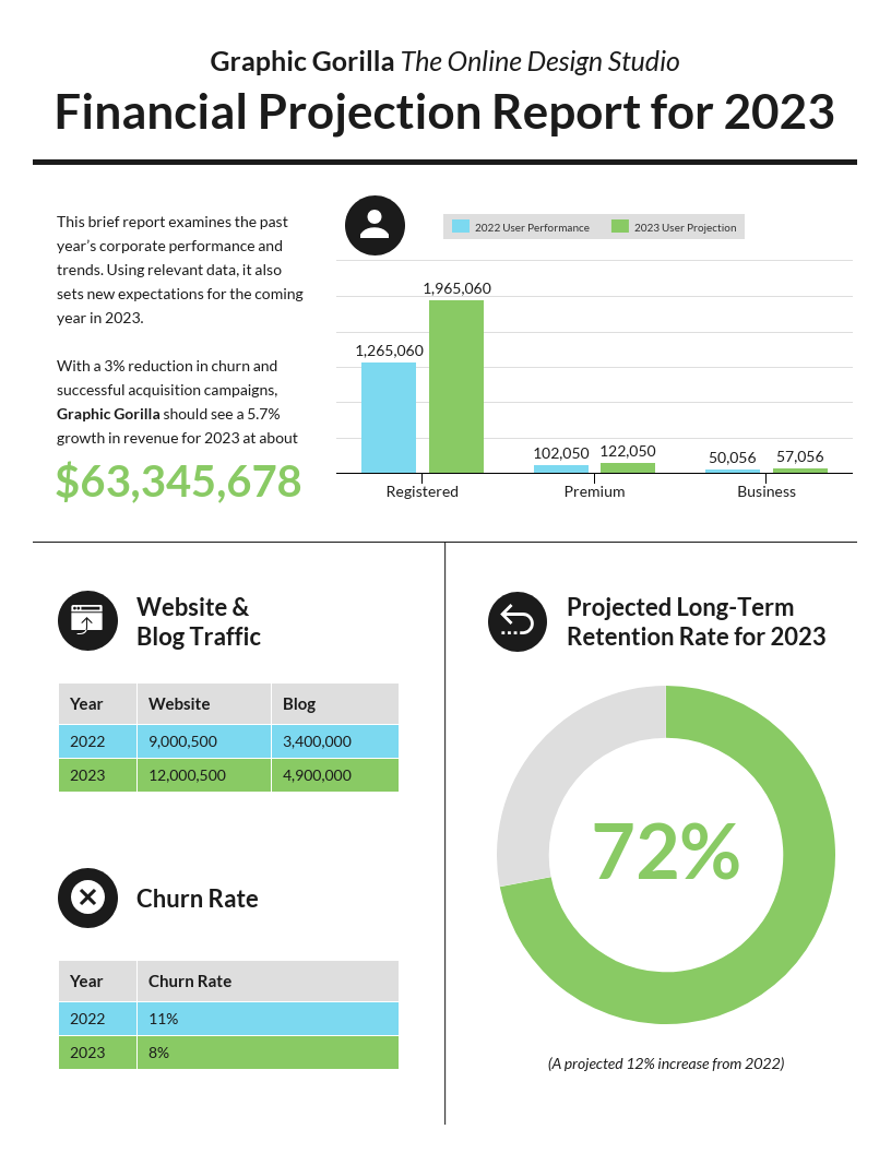 Data Infographic Modern Financial Projection Report Template
