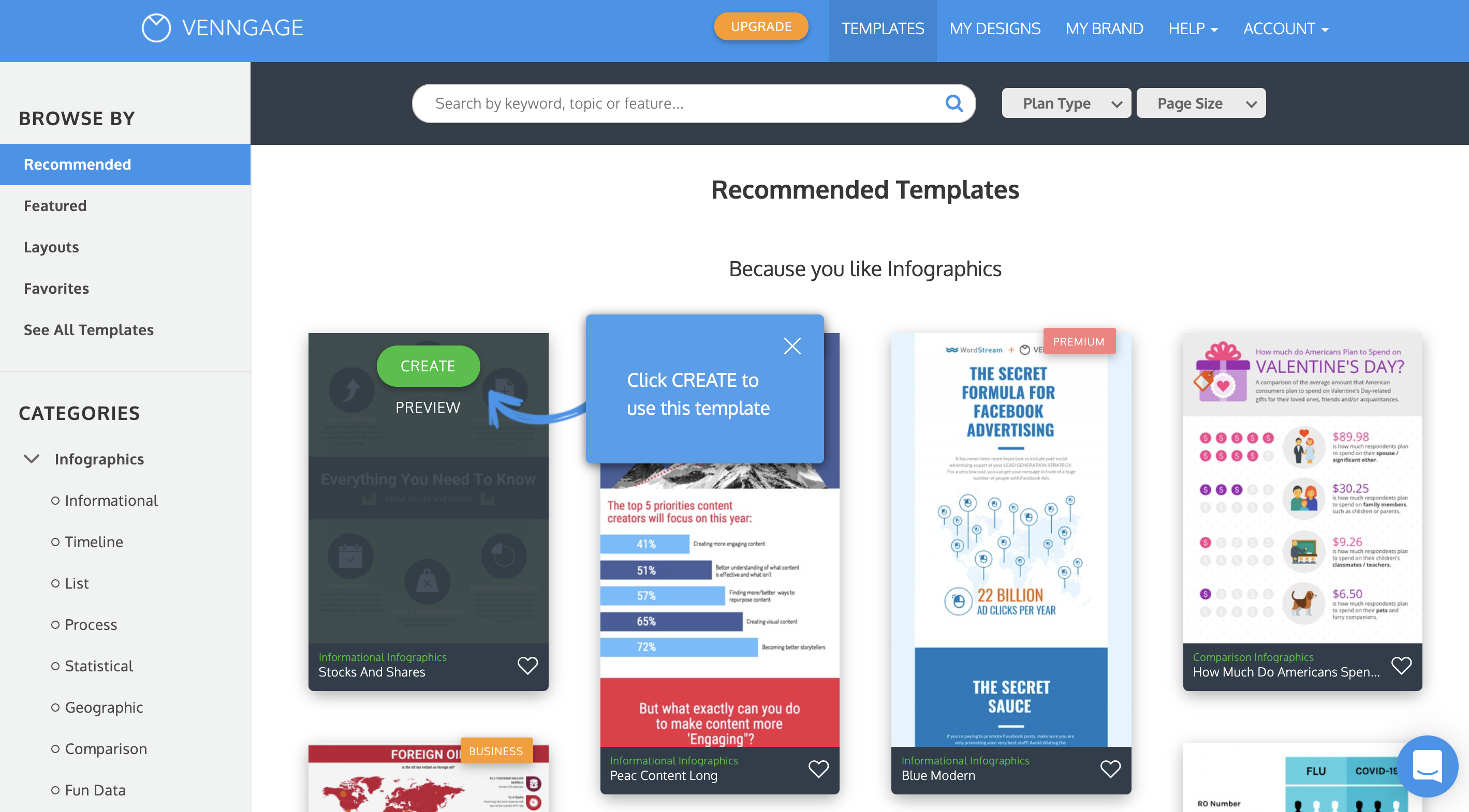 Piktochart vs Venngage getting started Venngage Onboarding - Templates