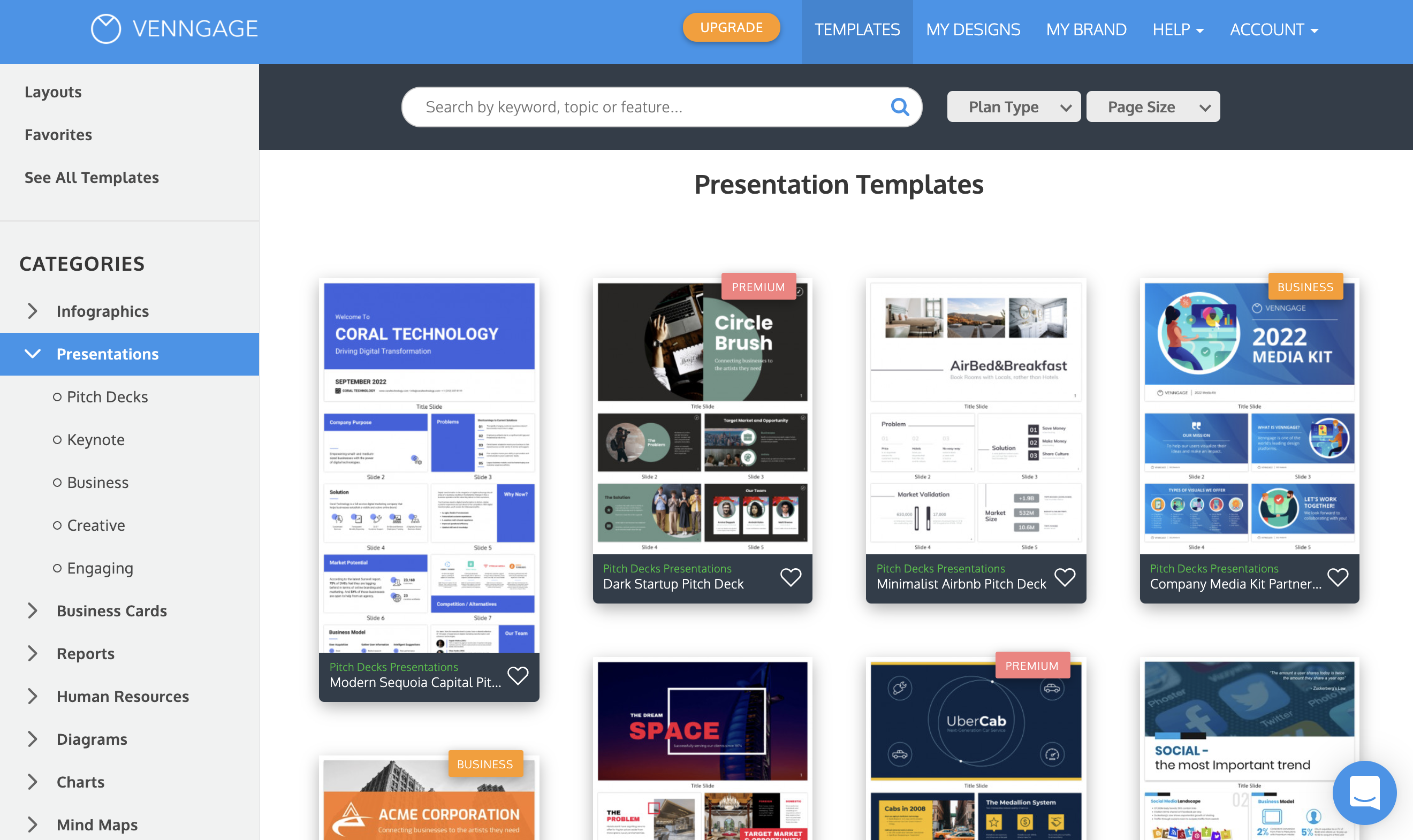 Venngage vs PowerPoint Venngage Presentation Templates Page