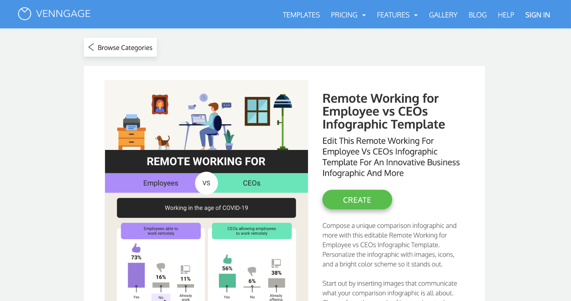Venngage vs Visme Venngage Remote Working Infographic Preview
