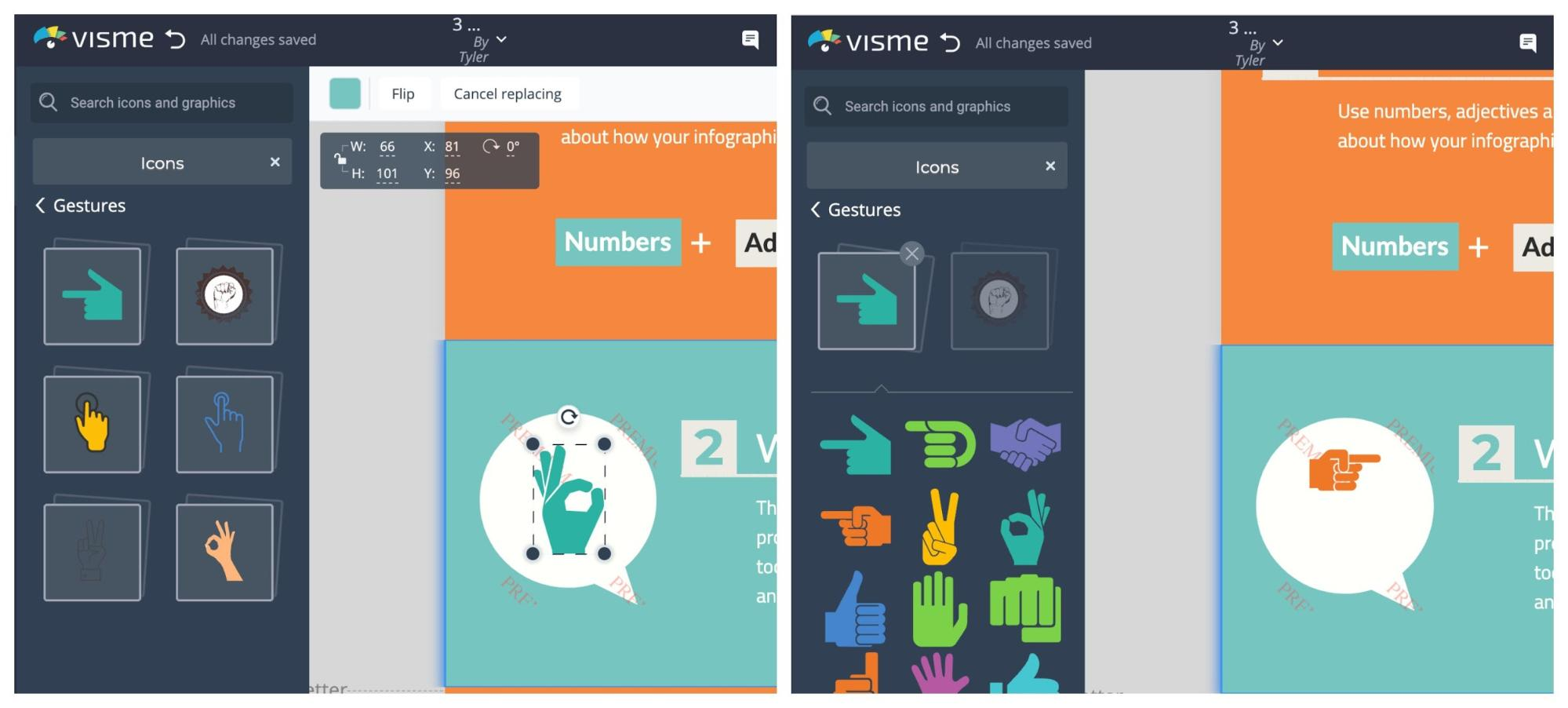 Visme vs Venngage Visme Icon Swap