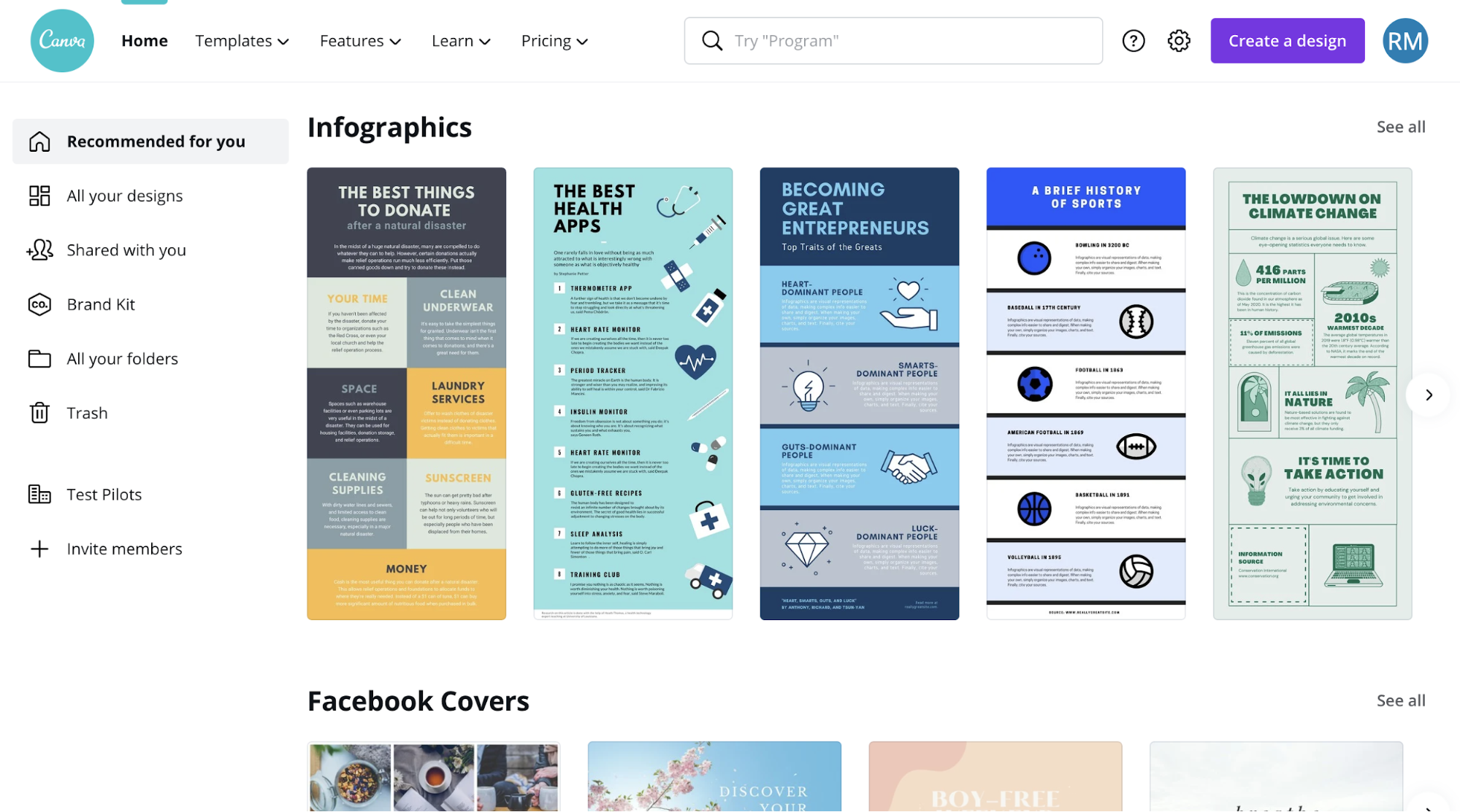 Visme vs Venngage Visme Template Page Similar to Canva