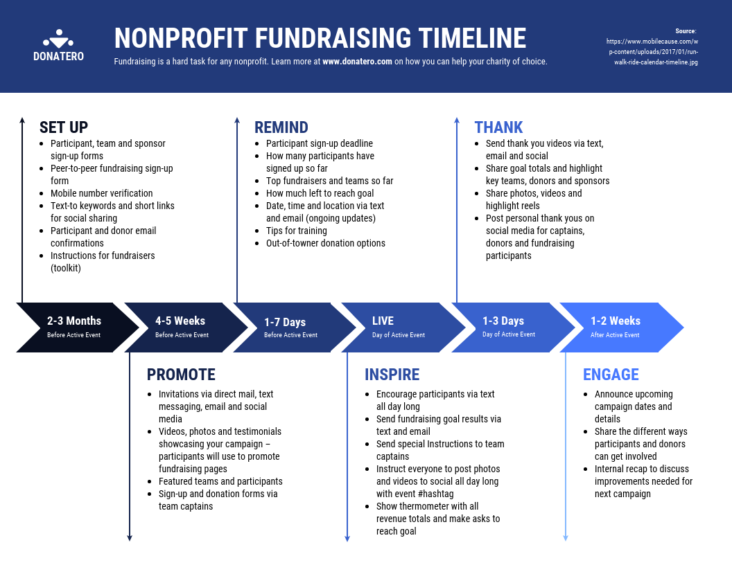 Visual Learning Example Nonprofit Fundraising Timeline Template