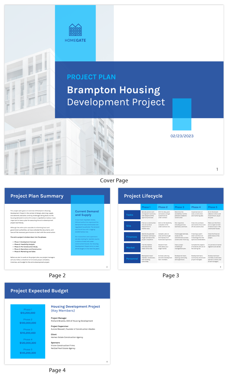 Change Management Strategy Blue Grid Housing Project Plan Template