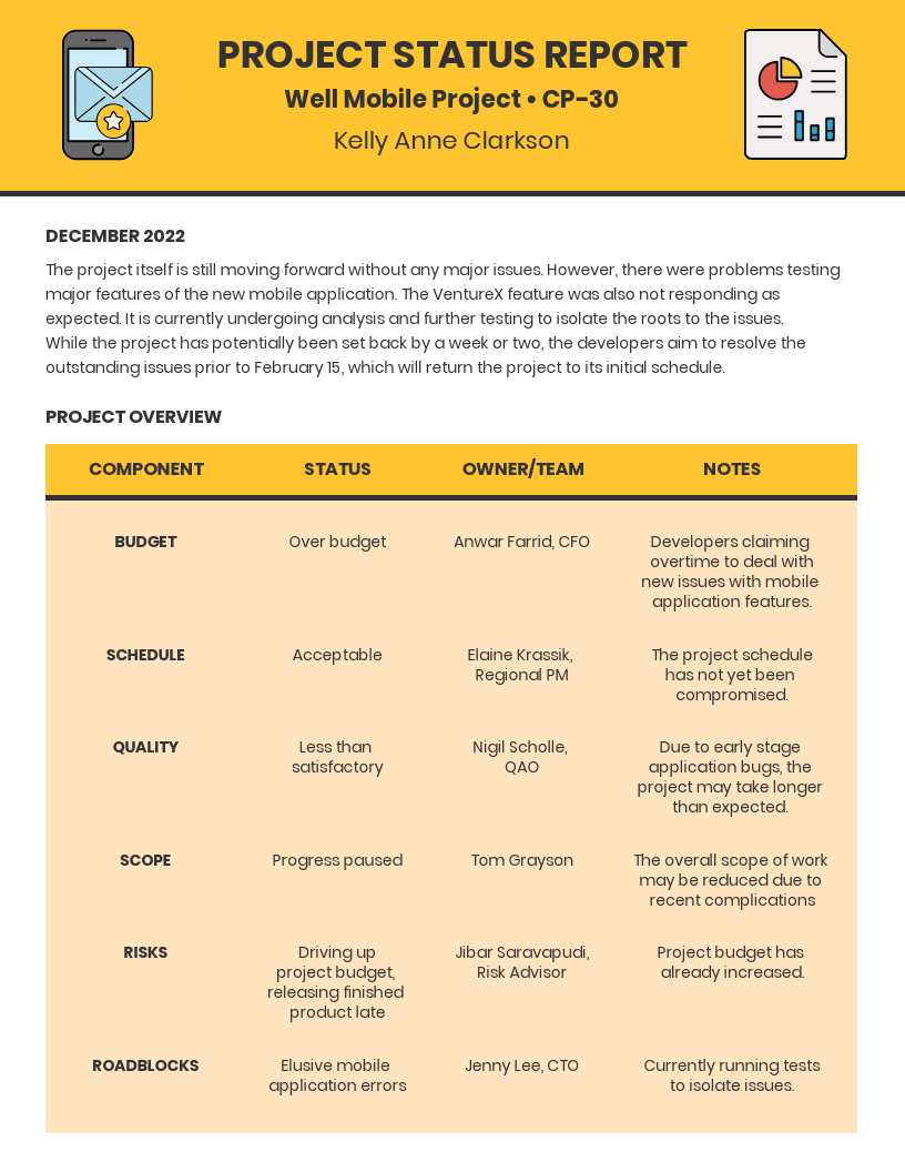 Change Management Strategy Mobile Project Status Report Template