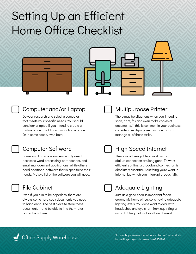 Checklist Infographic Template Home Office Setup