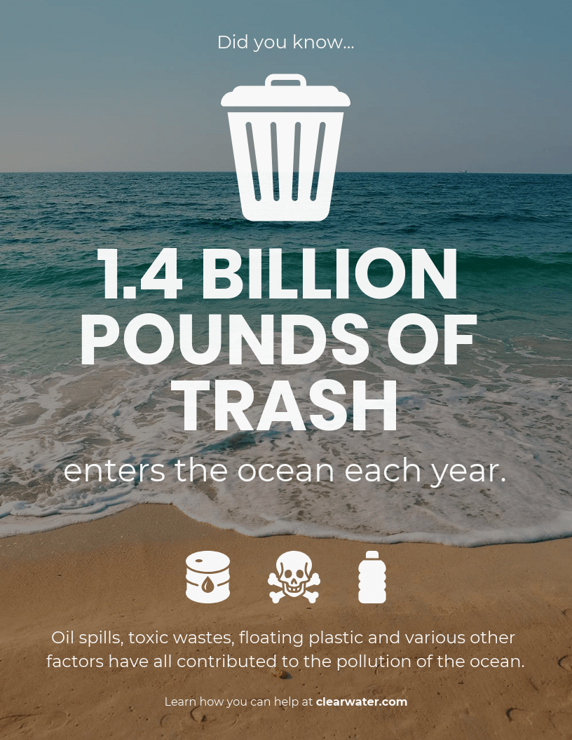 Email Marketing Infographic Ocean Pollution Did You Know Template