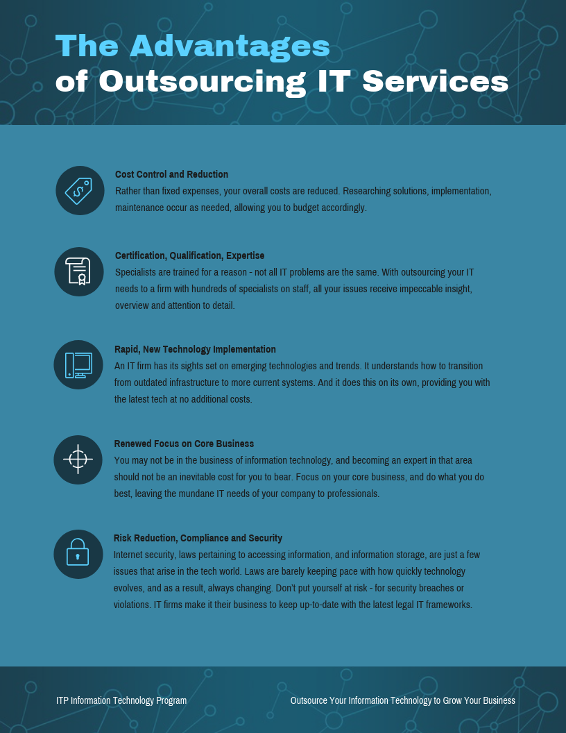 Technology Infographic Advantages Outsourcing IT Template