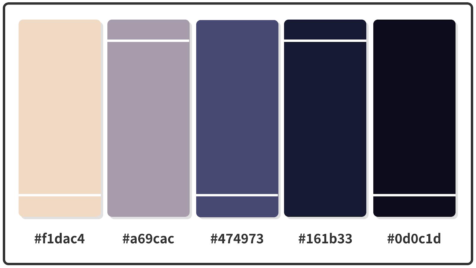 Almond + Purple Navy + Oxford Blue Color Palette