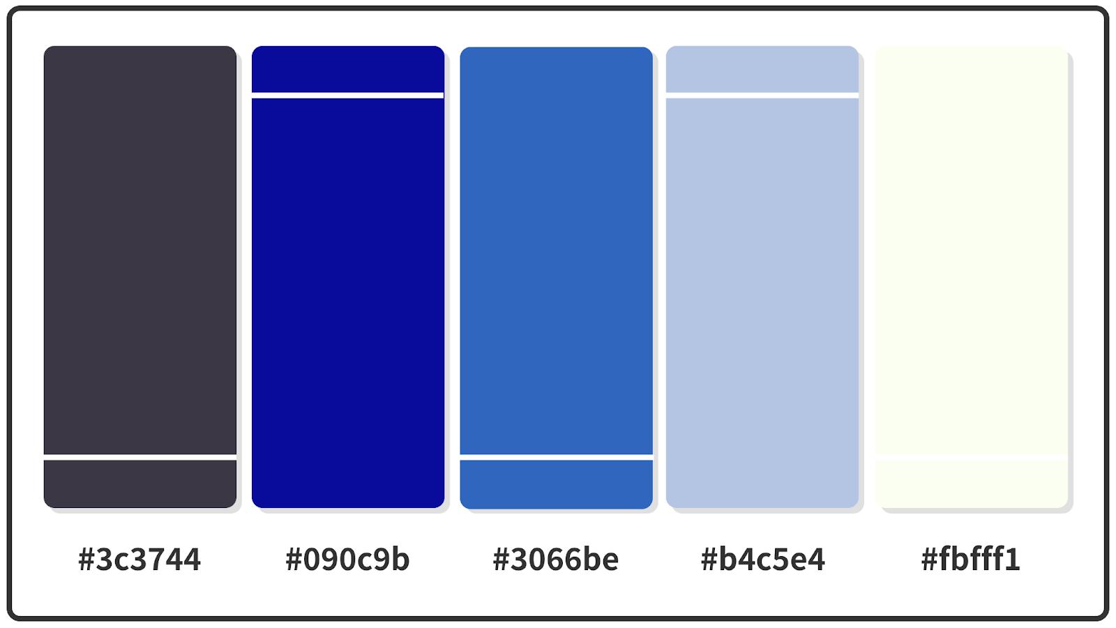 Black Coffee + Duke Blue + True Blue Color Palette