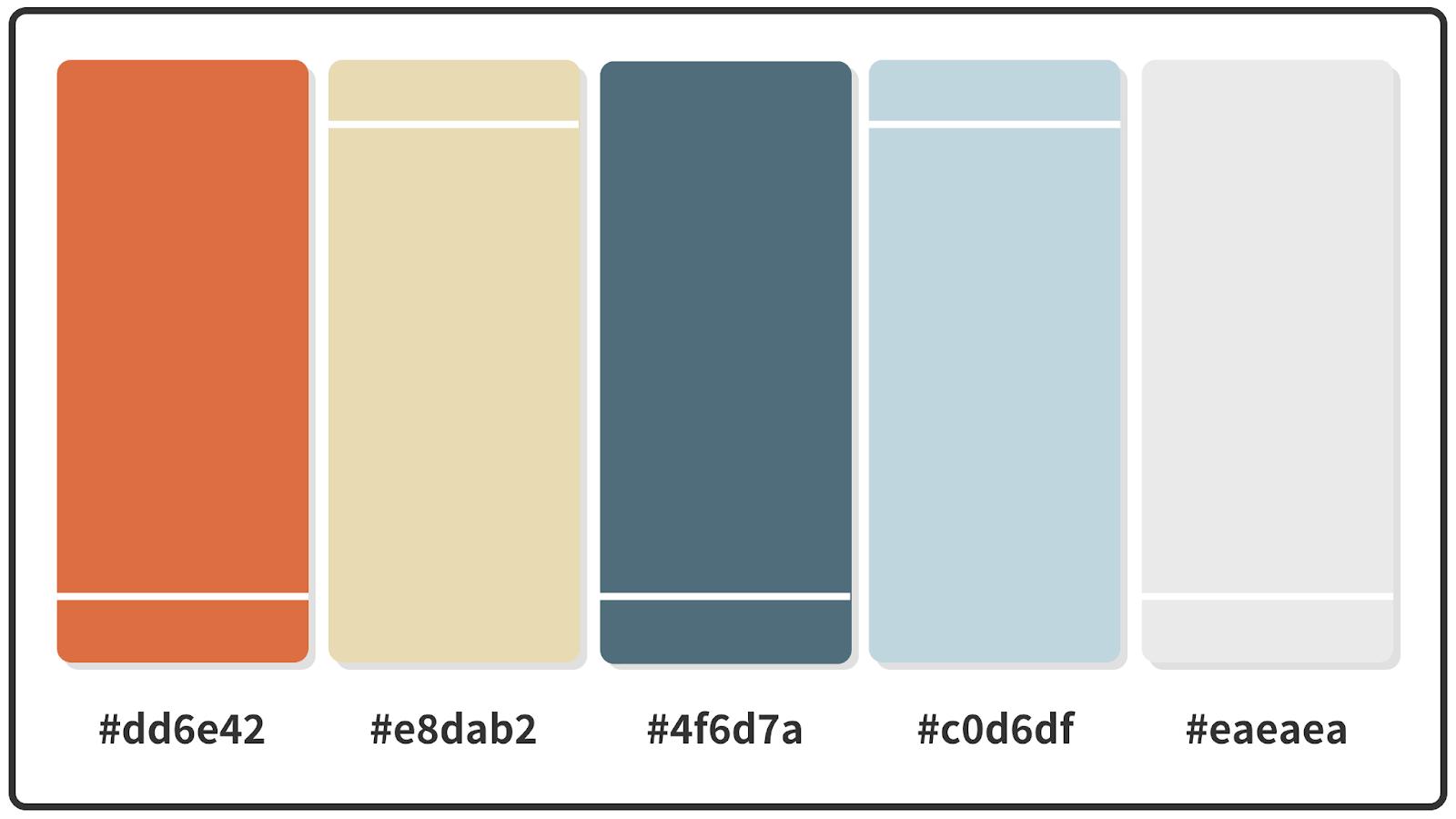 Burnt Sienna + Cadet Blue + Columbia Blue Color Palette