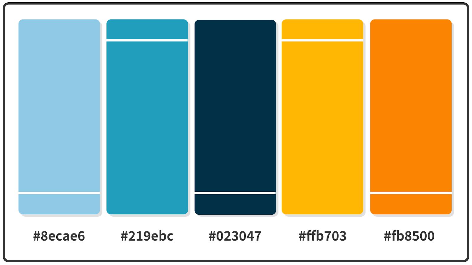 Orange + Honey Yellow + Prussian Blue Color Palette