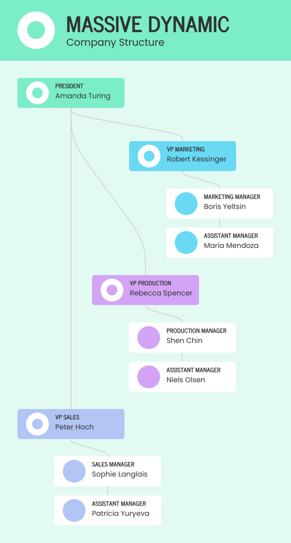 Soft Corporate Organizational Chart Template