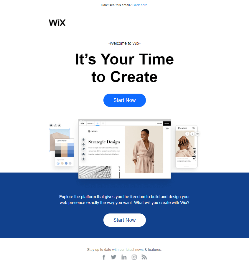 Welcome Email Design Wix Example
