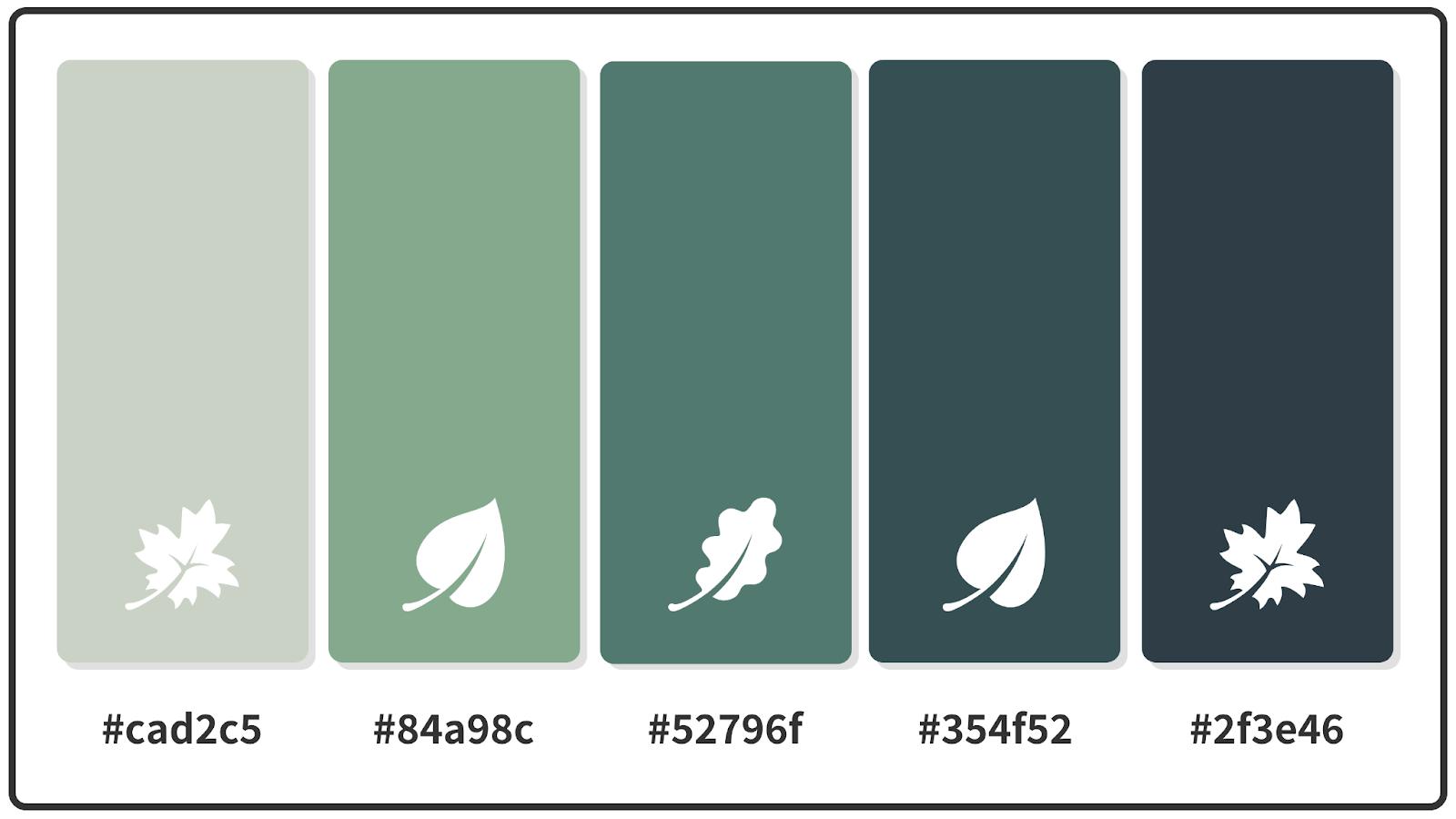 Ash Gray + Dark Slate + Dark Sea Green Fall Color Palette