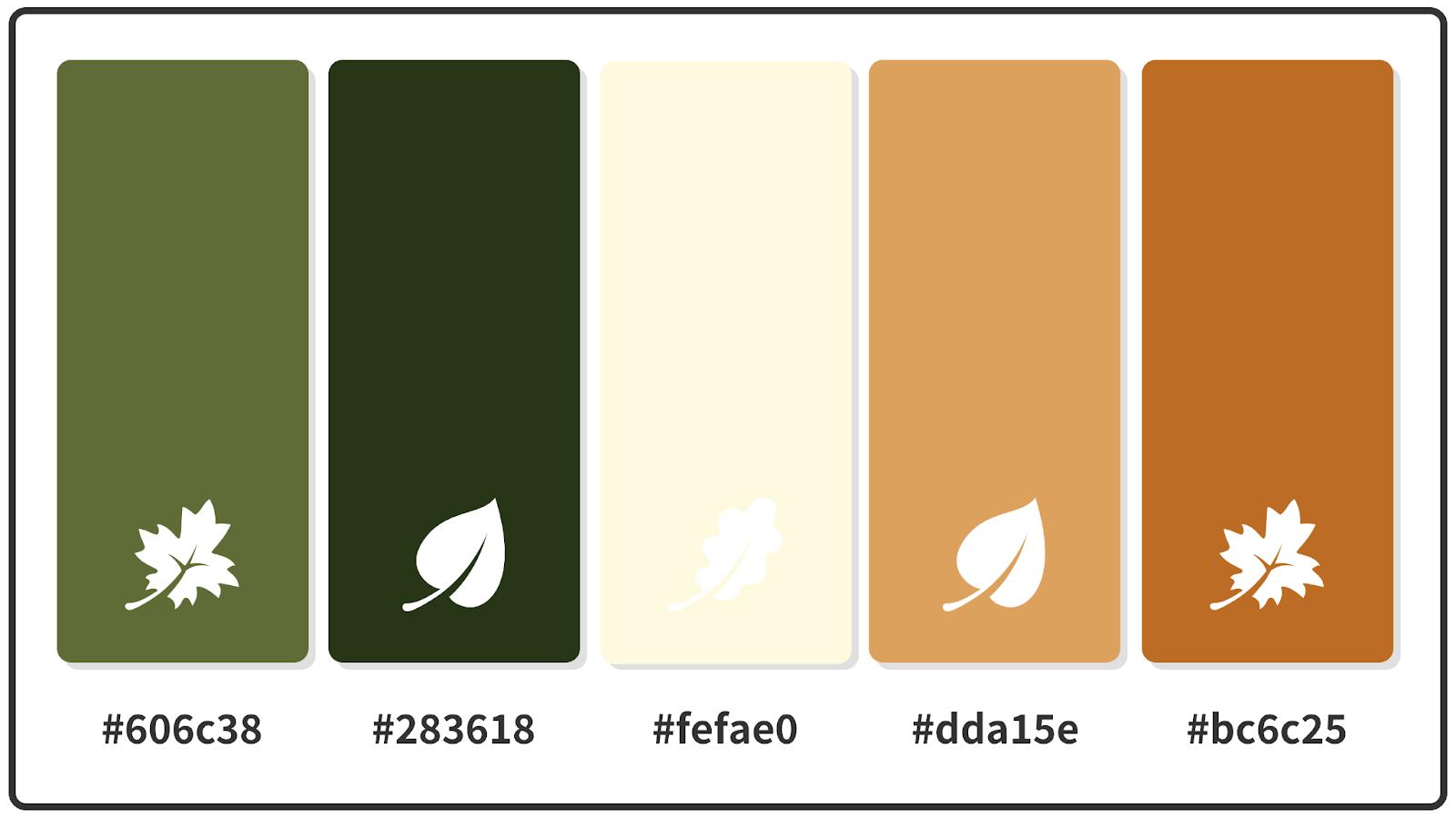 Cornsilk + Fawn + Kombu Green Fall Color Palette