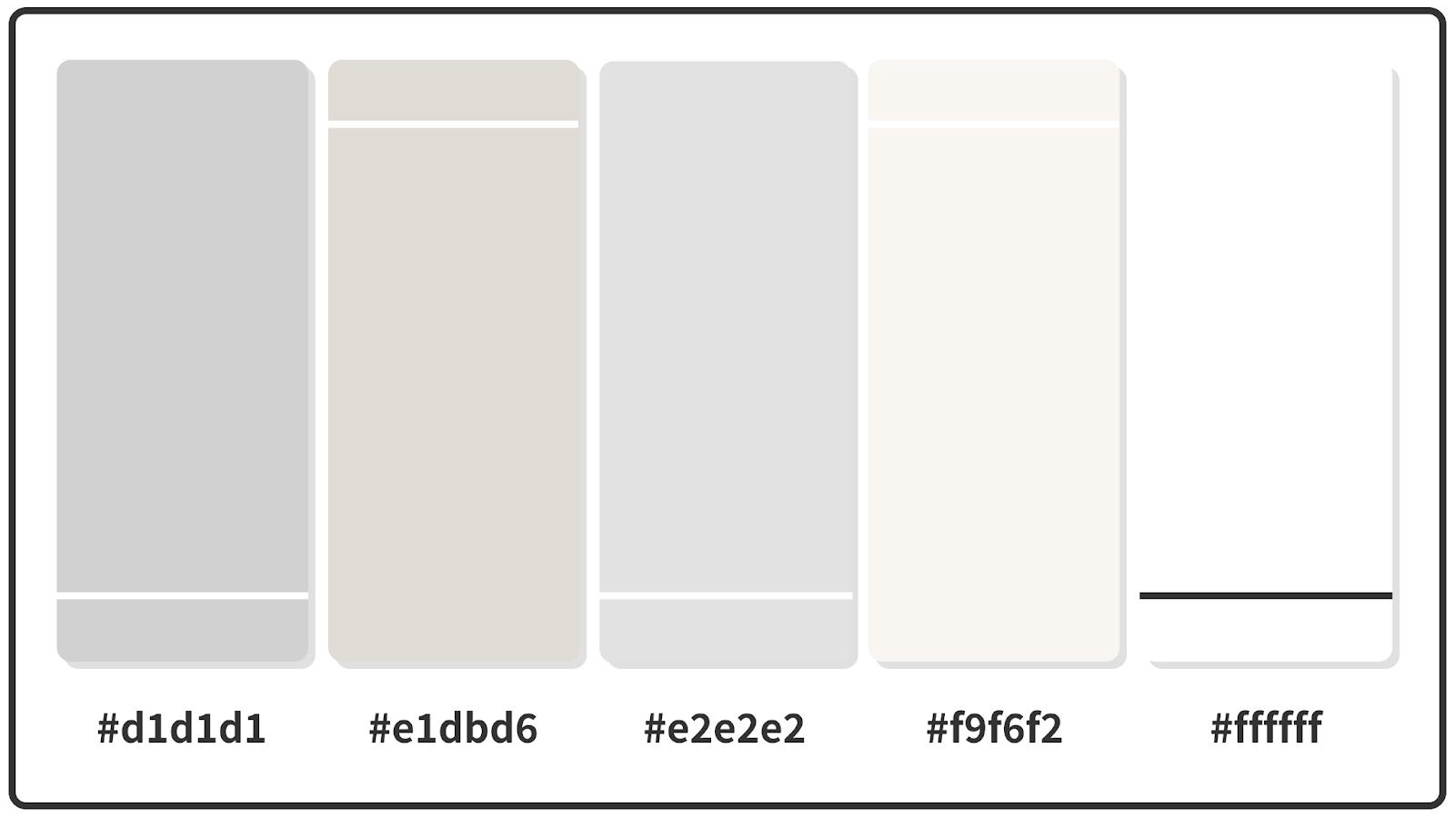 Light Gray + Timberwolf + Platinum Pastel Color Palette