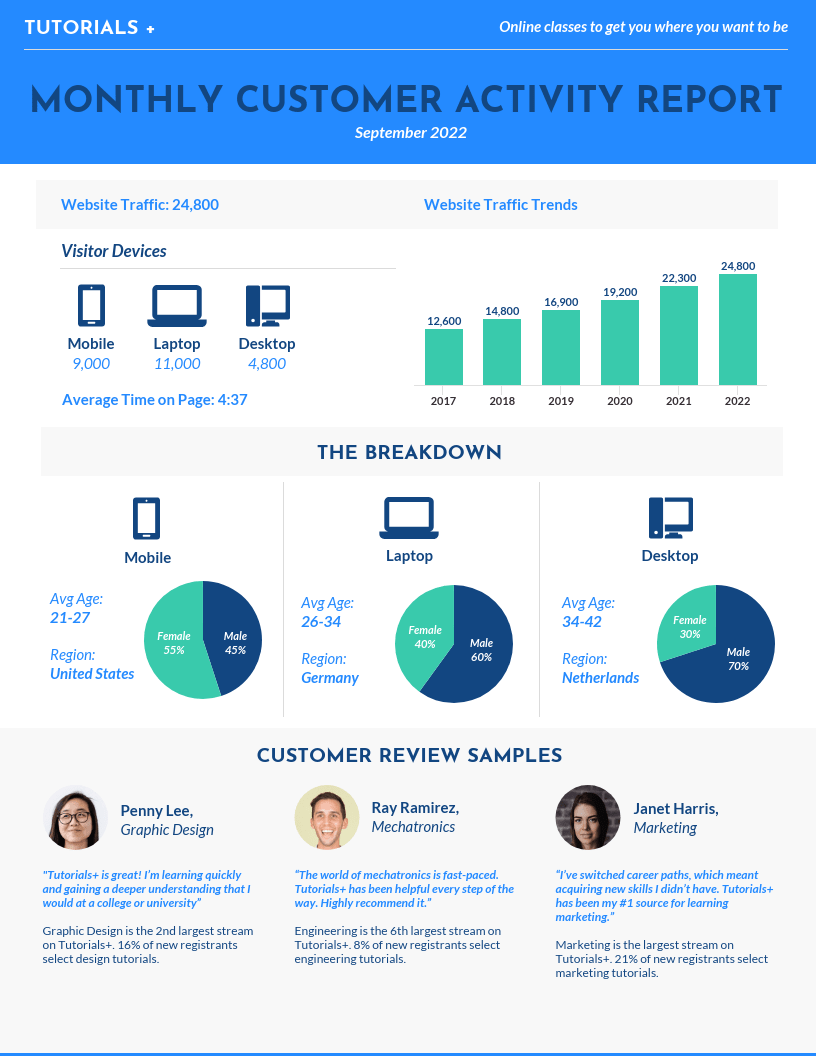Monthly Consumer Activity Report Template
