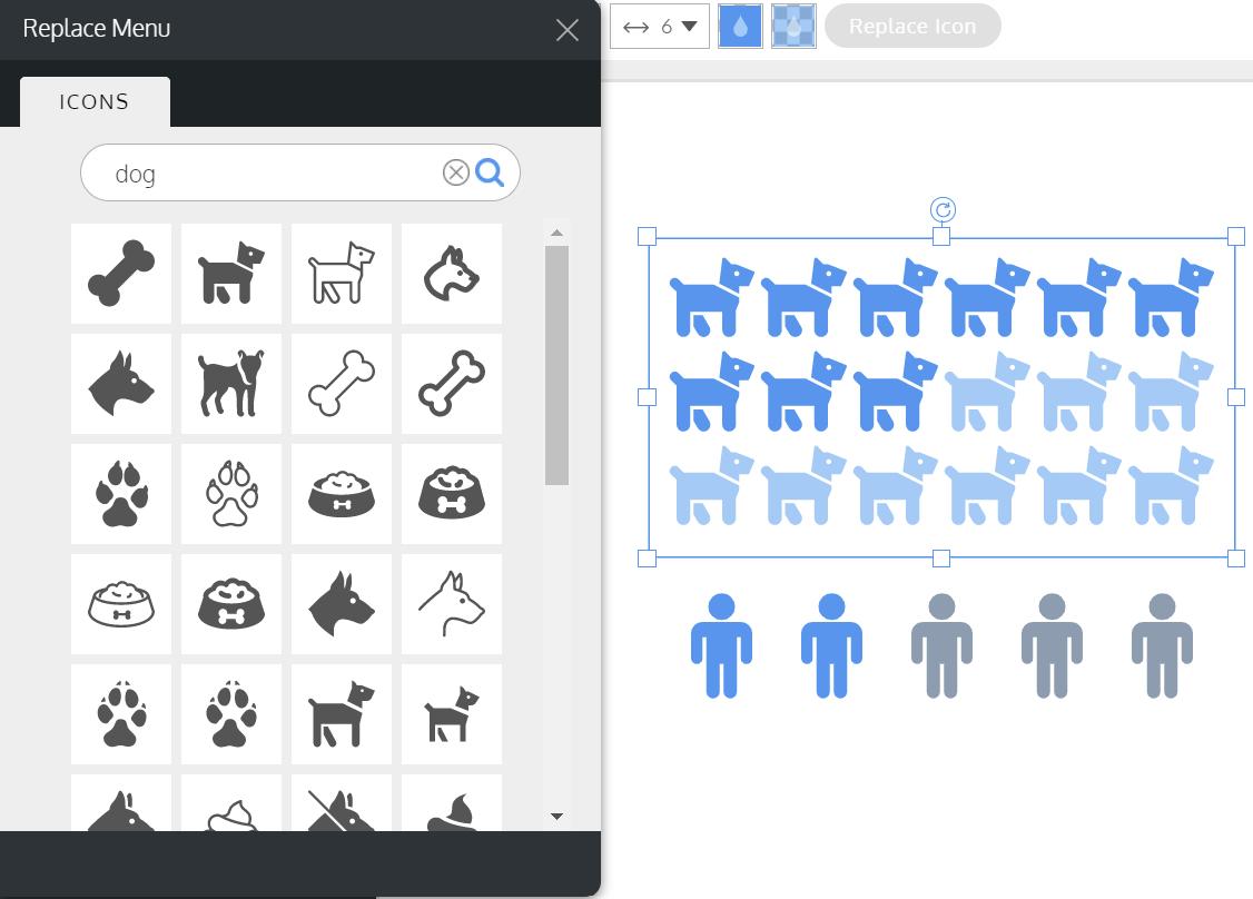 Replace pictogram icon