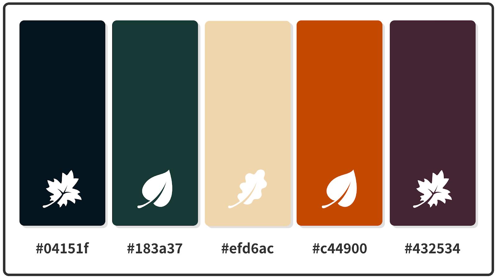 Rich Black + Wheat + Mahogany Fall Color Palette