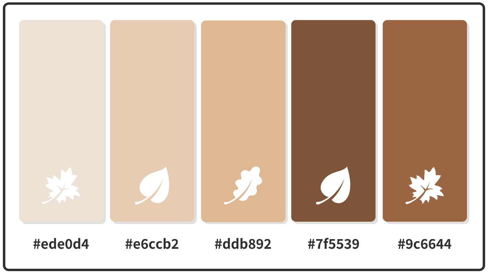Tan + Brown Sugar + Almond Brown Fall Color Palette