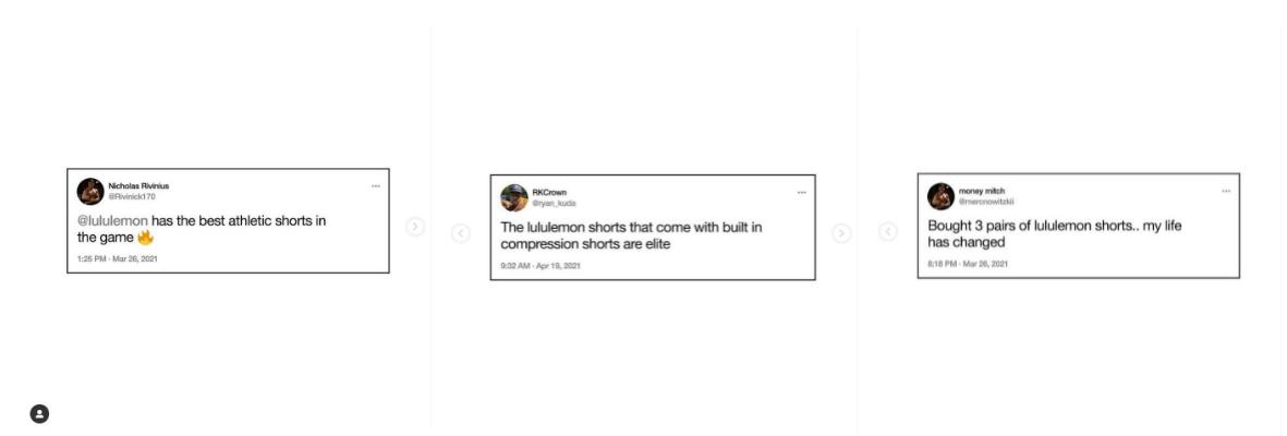 Lululemon social screencaps