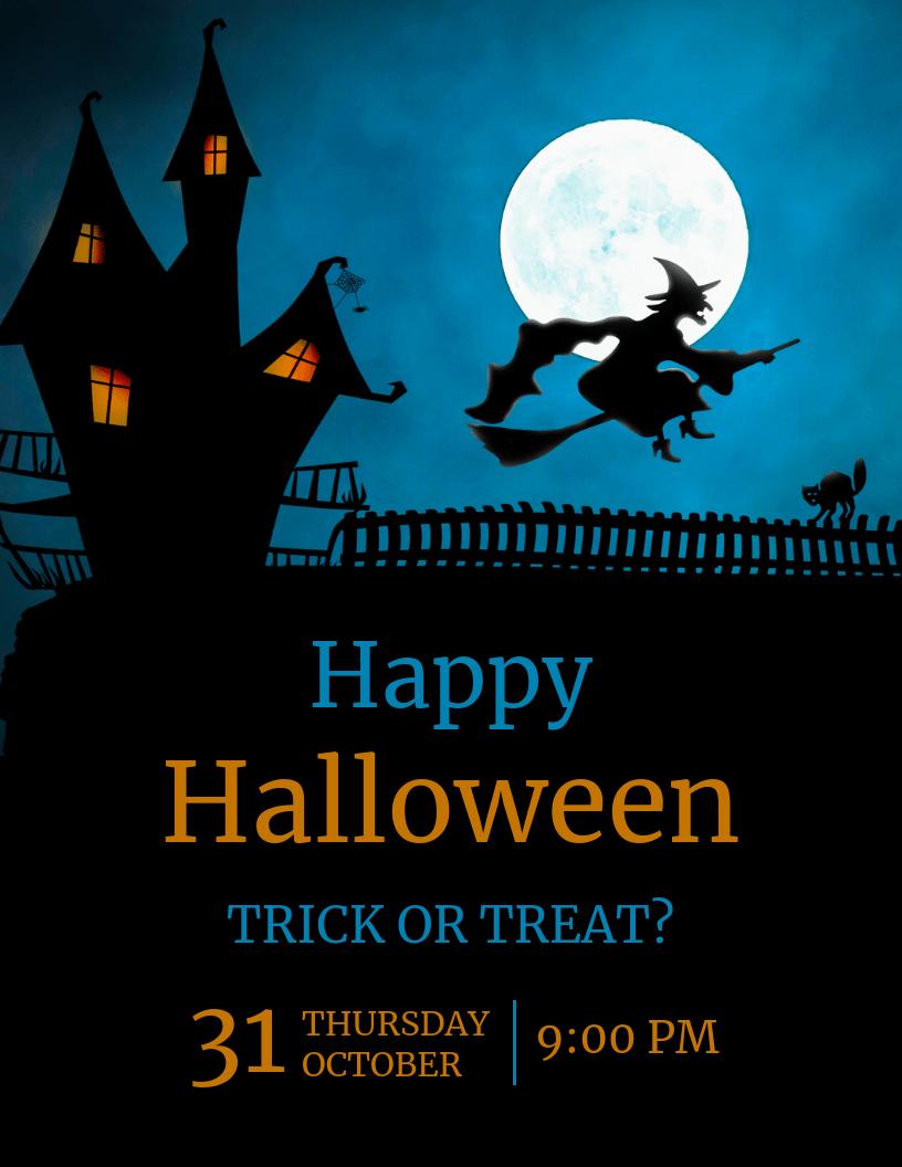 Blue Happy Halloween Flyer Template