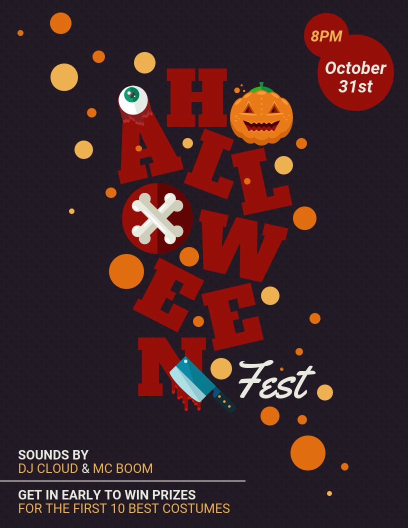 Festival Icons Halloween Flyer Template