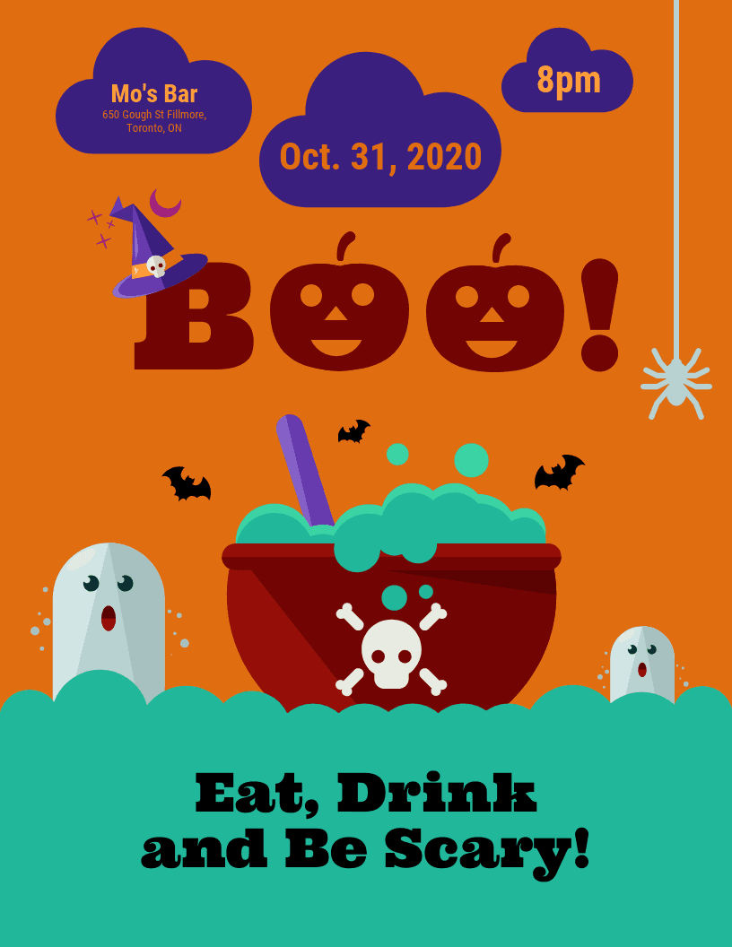 Scary and Cute Halloween Flyer Template