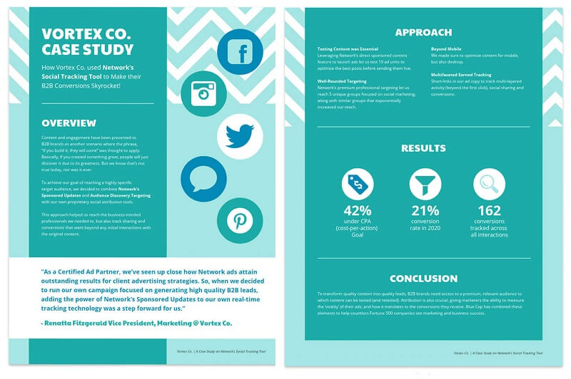 Teal Social Media Business Case Study Template