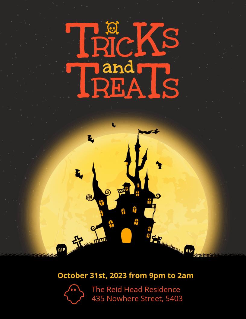 Tricks and Treats Happy Halloween Flyer Template