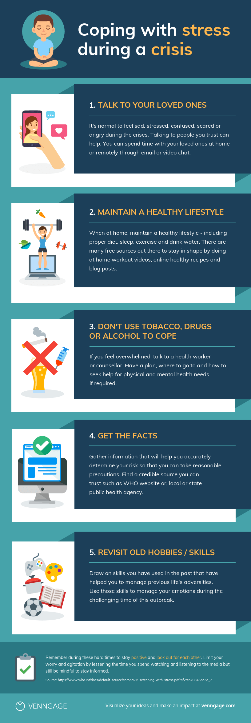 Coping With Stress During A Crisis Infographic Template